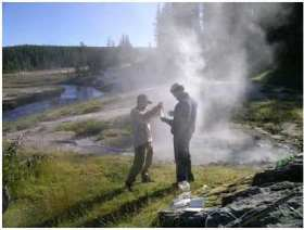 Students collect samples at Yellowstone hot spring
