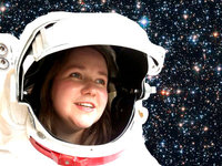 image of young woman wearing astronaut helmet