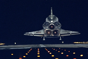 Night landing of space shuttle