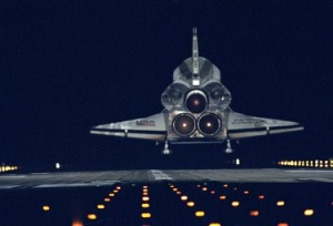 Image of a space shuttle landing