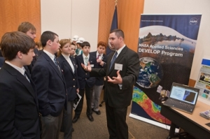 Student presents research as a part of the NASA DEVELOP Program