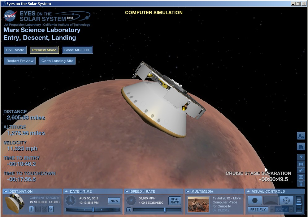 JPL Creates 3-D Visualization of Curiosity Rover Landing ...